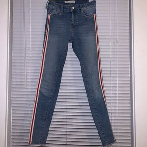 ZARA jeans with red/white stripes on side seam